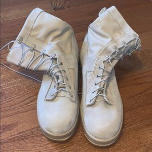 Tan Lace Up Army Boots